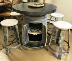 White Chunky Pub Double Door w/ 4 Barrel Ring Stools