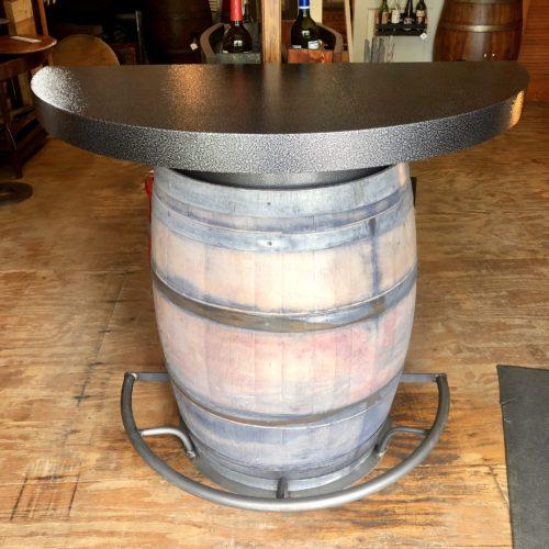 Half Barrel Bistro Bar Whitewashed Indoor Finish with 12 Bottle Wine Rack and Half Moon Shelves (front)