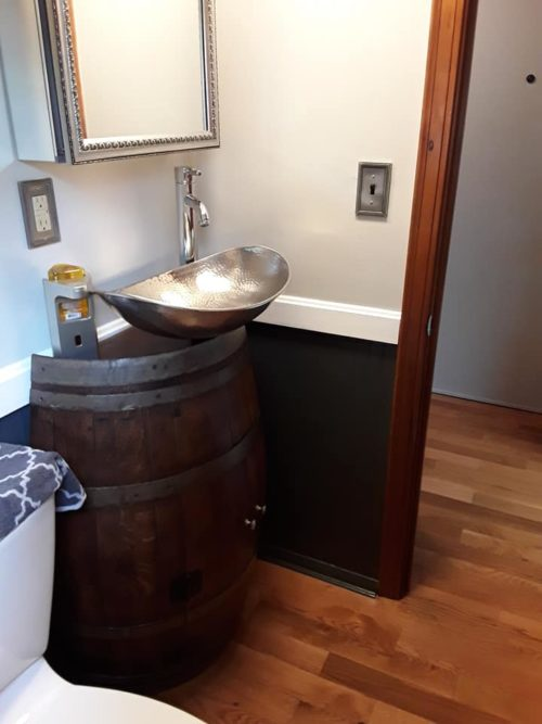 Half Barrel Vino Sink Install in Bathroom