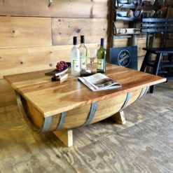 Half Barrel Coffee Table w/ Reclaimed Cherry Wood Top