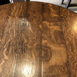 Detail of Ring Side Table Original Barrel Head (coffee finish - no 2 barrel heads will be identical)
